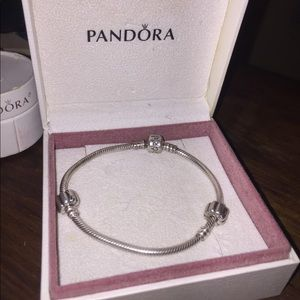 Pandora Moments Snake Chain Bracelet. Two Clips